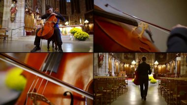 cellist is playing in empty catholic church, rehearsing alone, collage shot