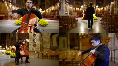 musician is playing by violoncello in catholic church, collage of four shots