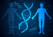 pojem abstraktní věda člověka tělo digitální linky a Dna hi tech na binární pozadí, modernizace technologie přenáší informace do digitální těla prostřednictvím Dna