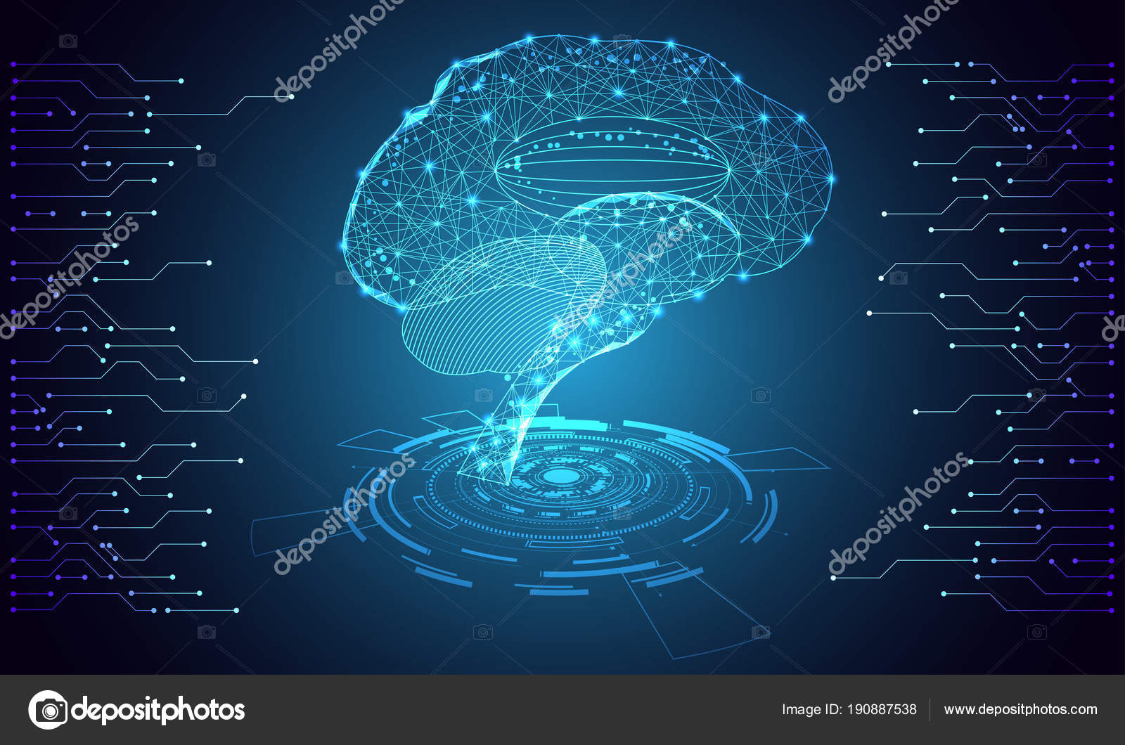 Abstract Technology Ui Futuristic Concept Brain Hud Interface Hologram Elements Of Digital Data Chart Communication Computing And Health Innovation On Hi
