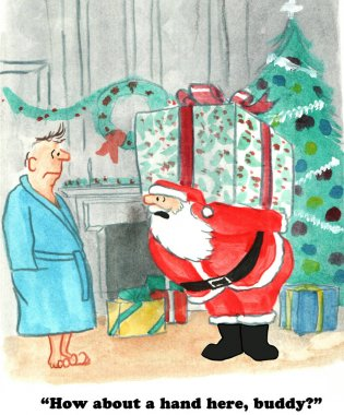 Santa Claus with Heavy Gift