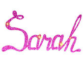 Photo Sarah name lettering tinsels