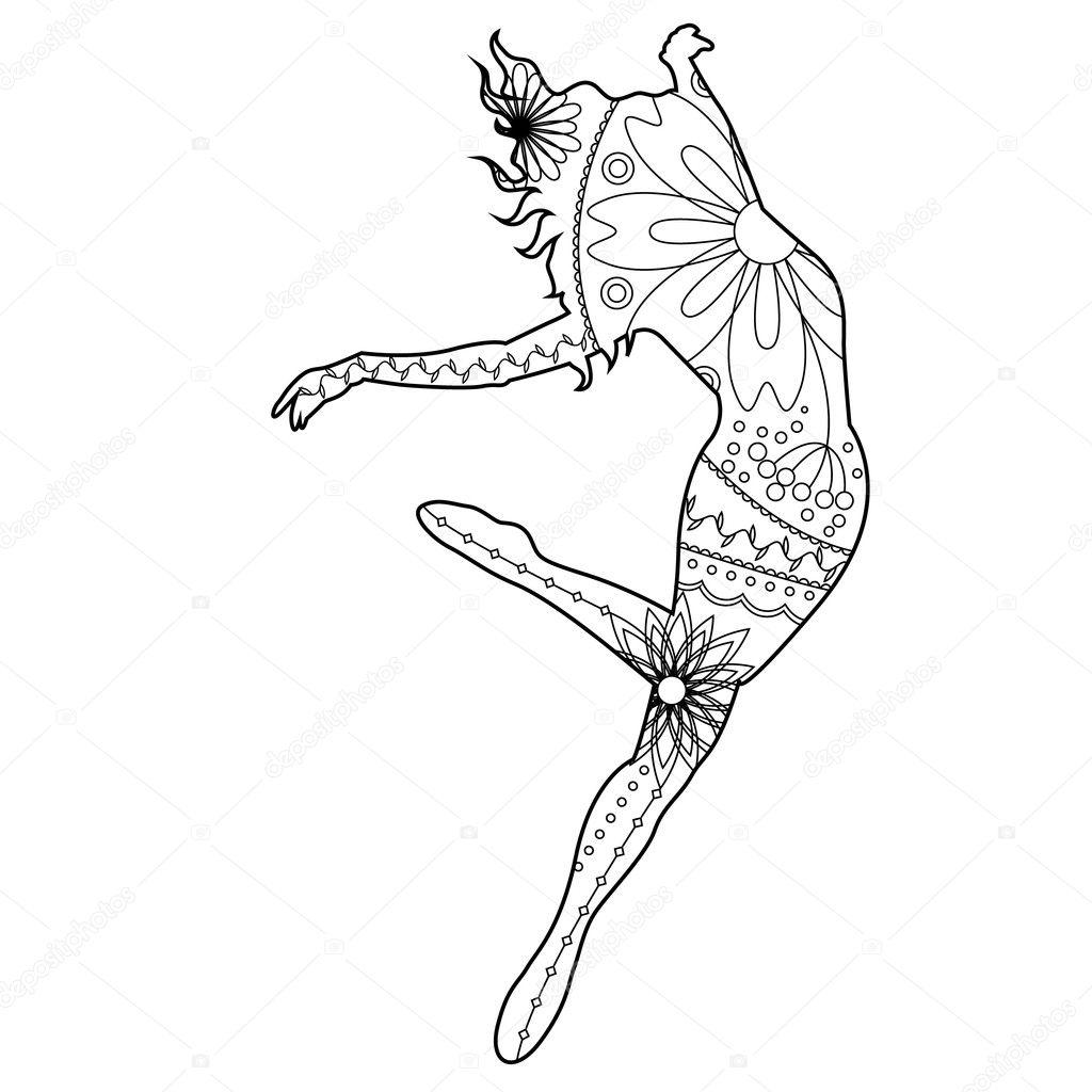 Moderne Danseres Kleurplaten Stockvector C Marishayu 125023478