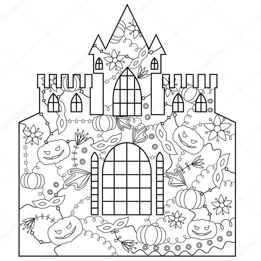 Para colorear de Castillo Halloween — Vector de stock © Marishayu ...
