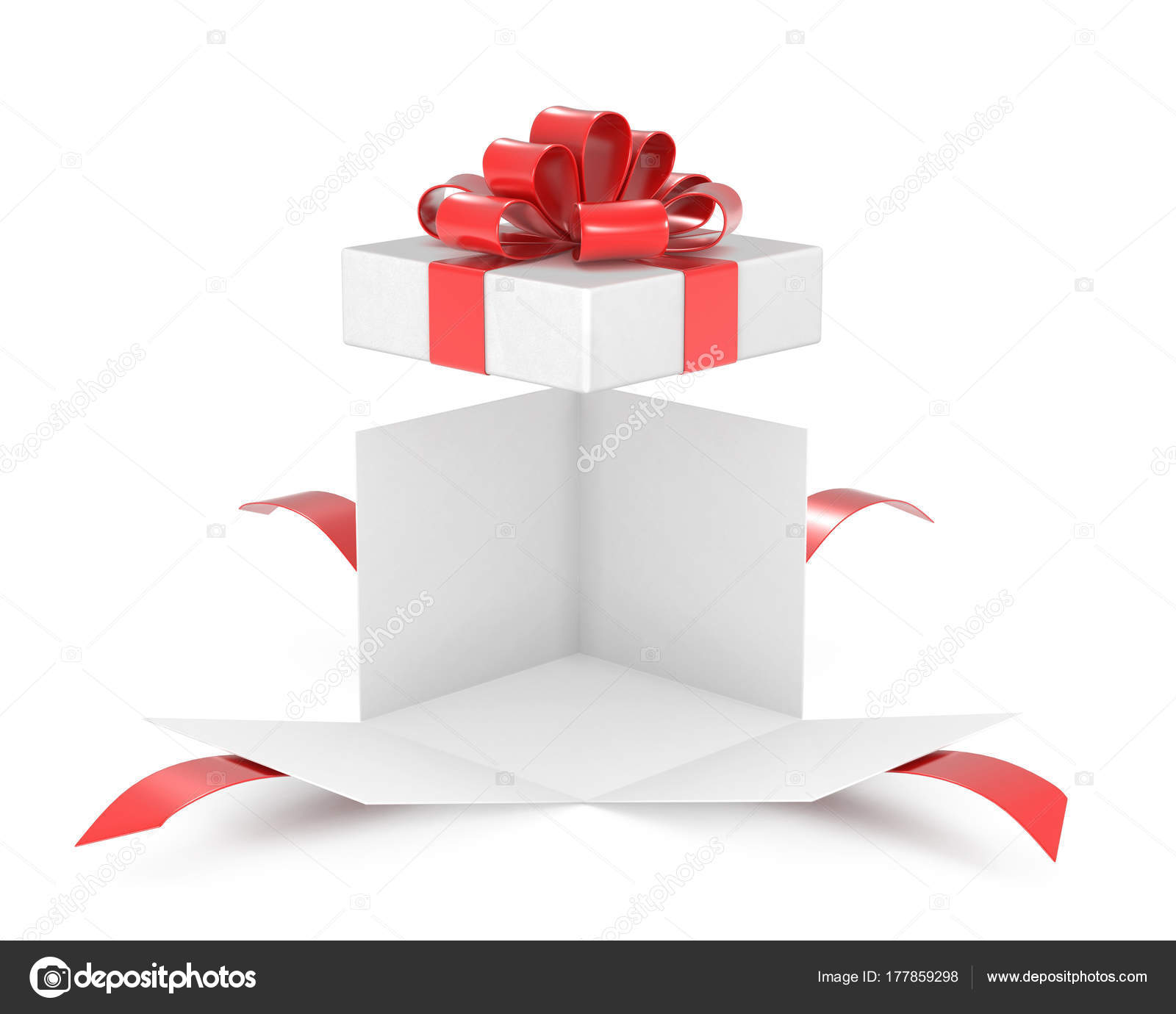 Open gift box present box with red ribbon bow stock photo open gift box present box with red ribbon bow stock photo negle Images