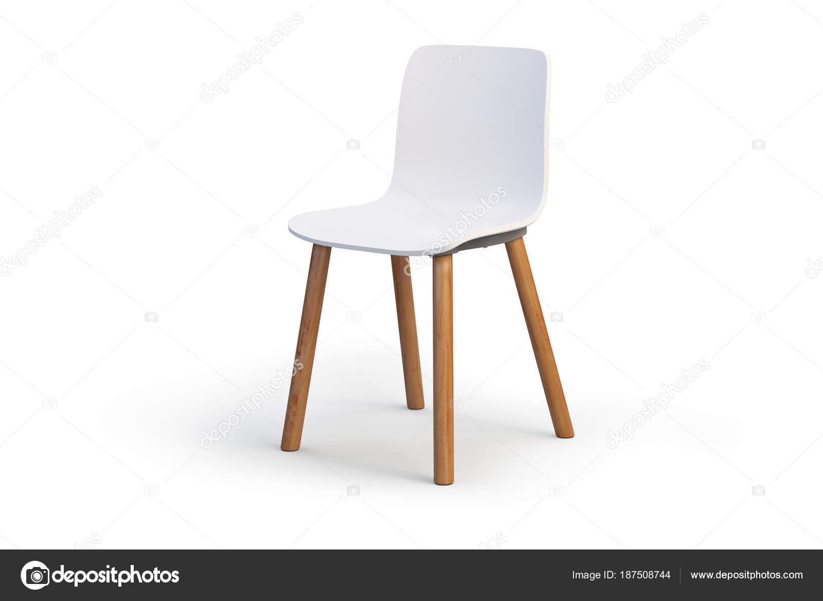 Moderne witte stoel houten base d render u stockfoto dmitruk