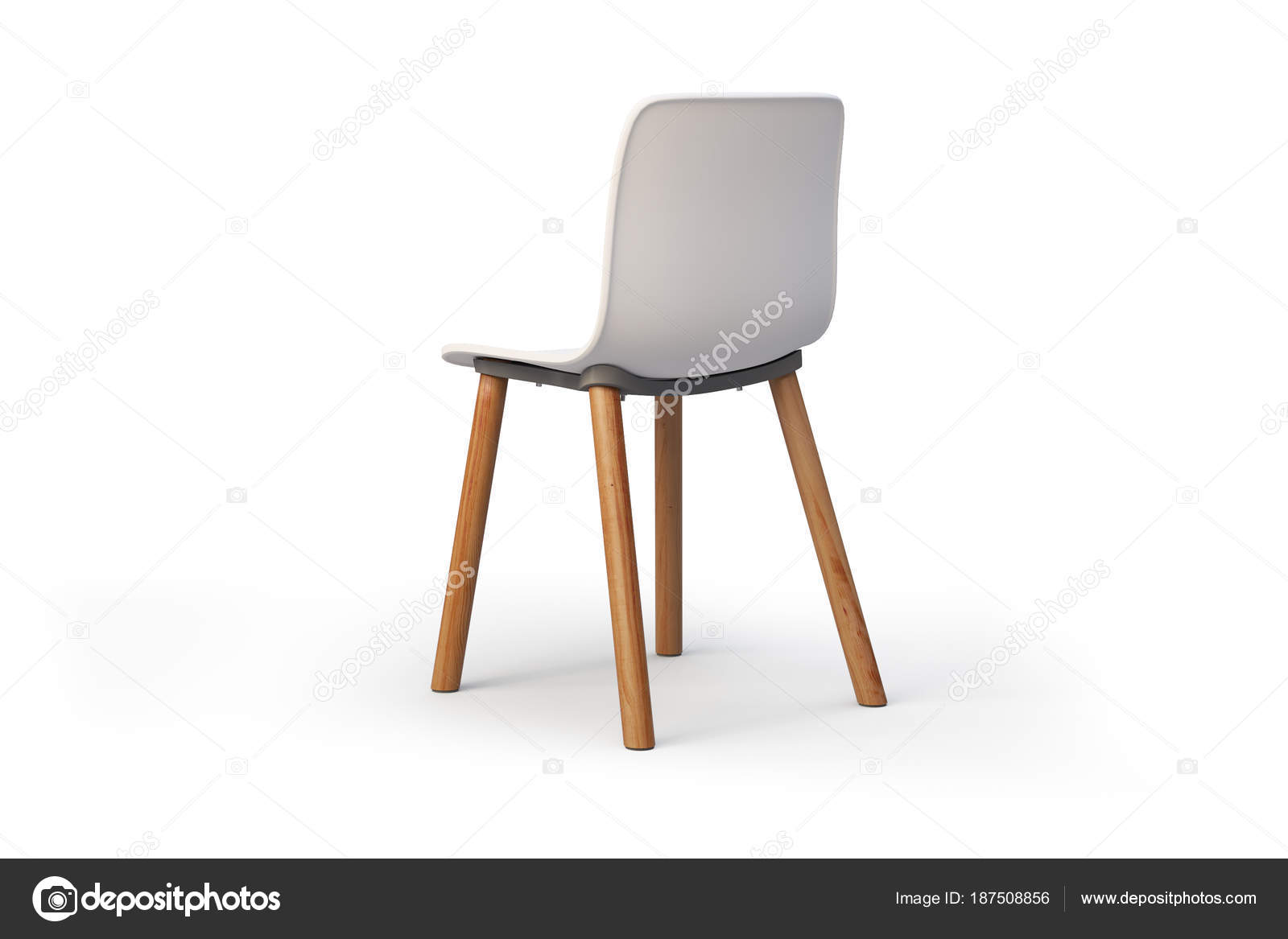 chaise blanche moderne base en bois rendu 3d. Black Bedroom Furniture Sets. Home Design Ideas