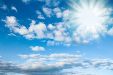 Fantastic soft white clouds against blue sky stock vector