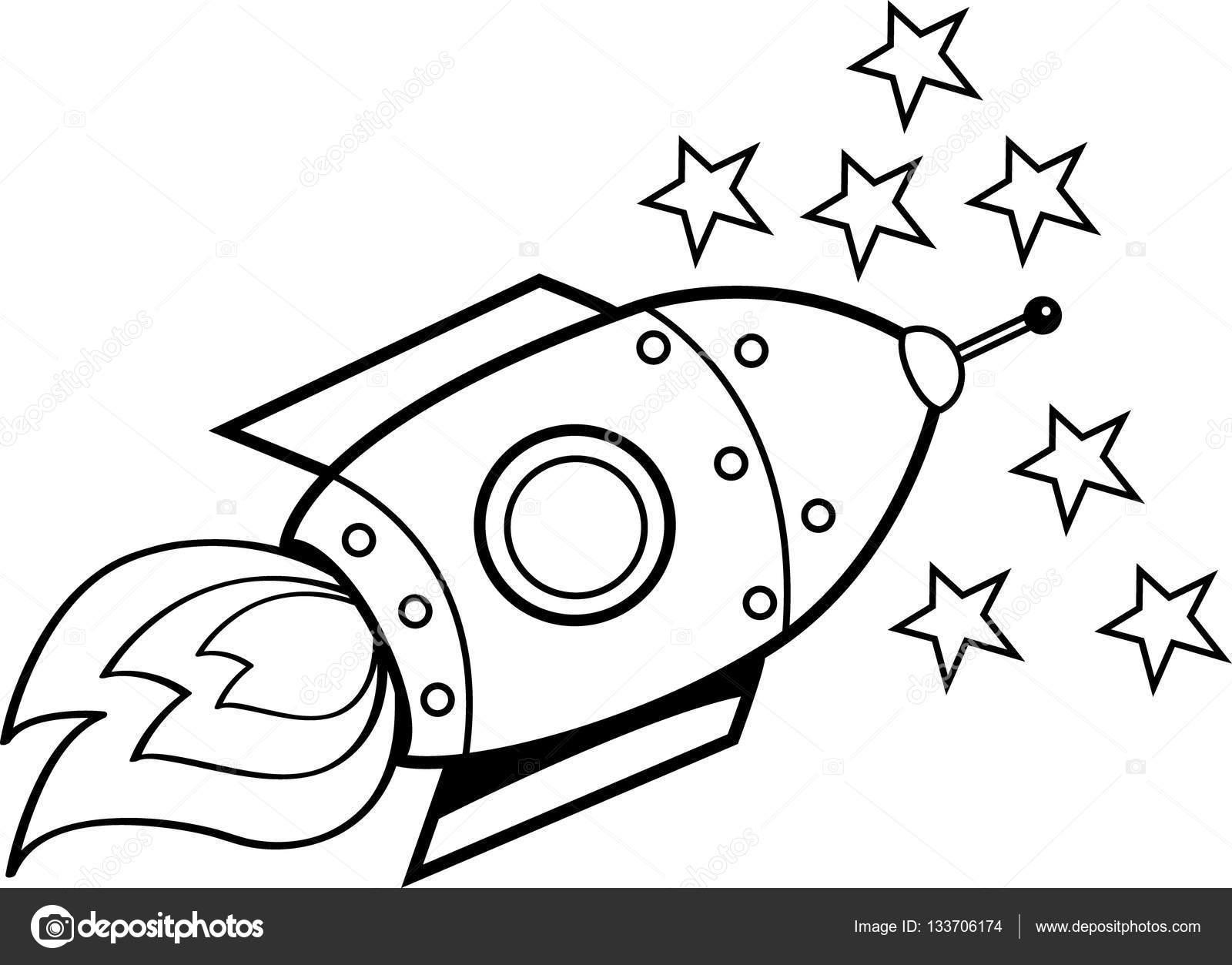 Dessin Vaisseau Spatial Étoiles et vaisseau spatial de dessin animé — image vectorielle