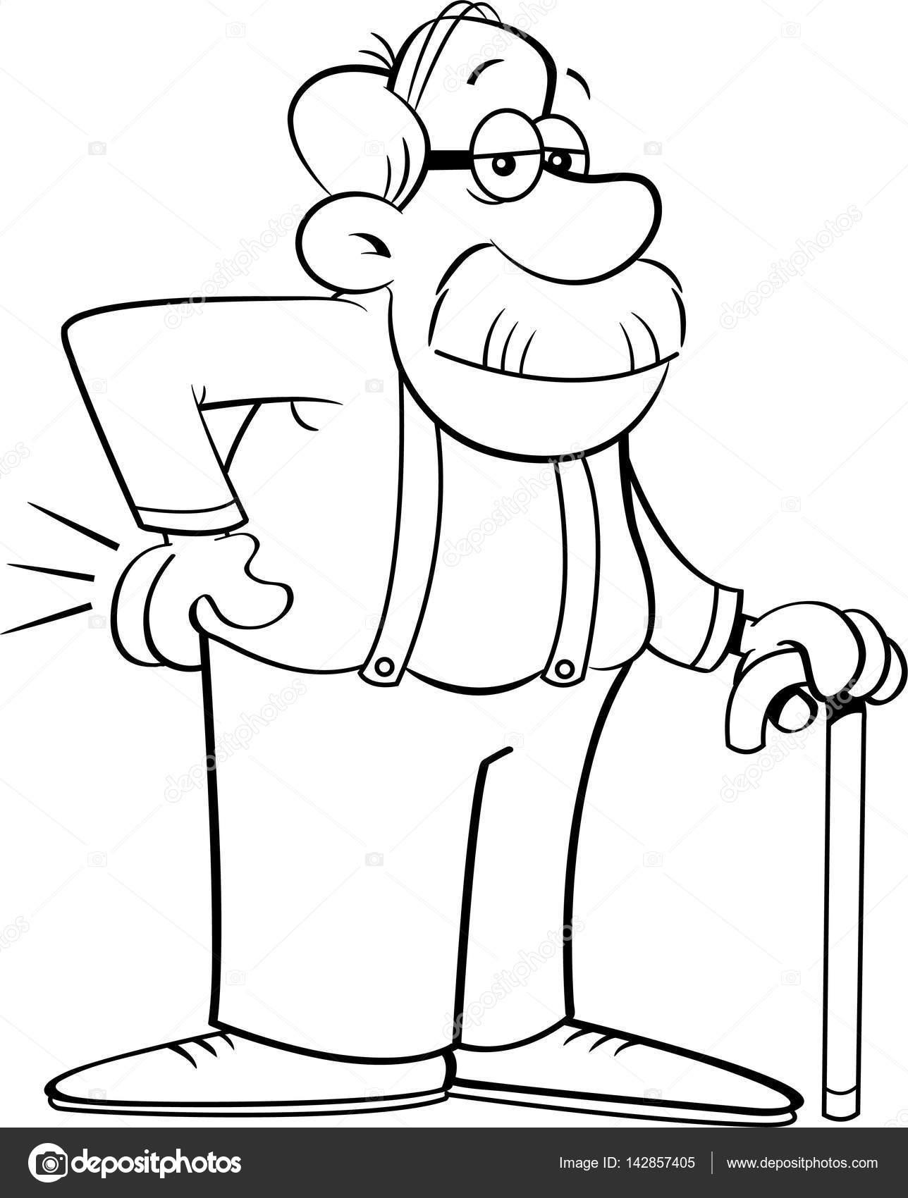 Bir Baston Eğik çizgi Film Yaşlı Adam Stok Vektör Kenbenner