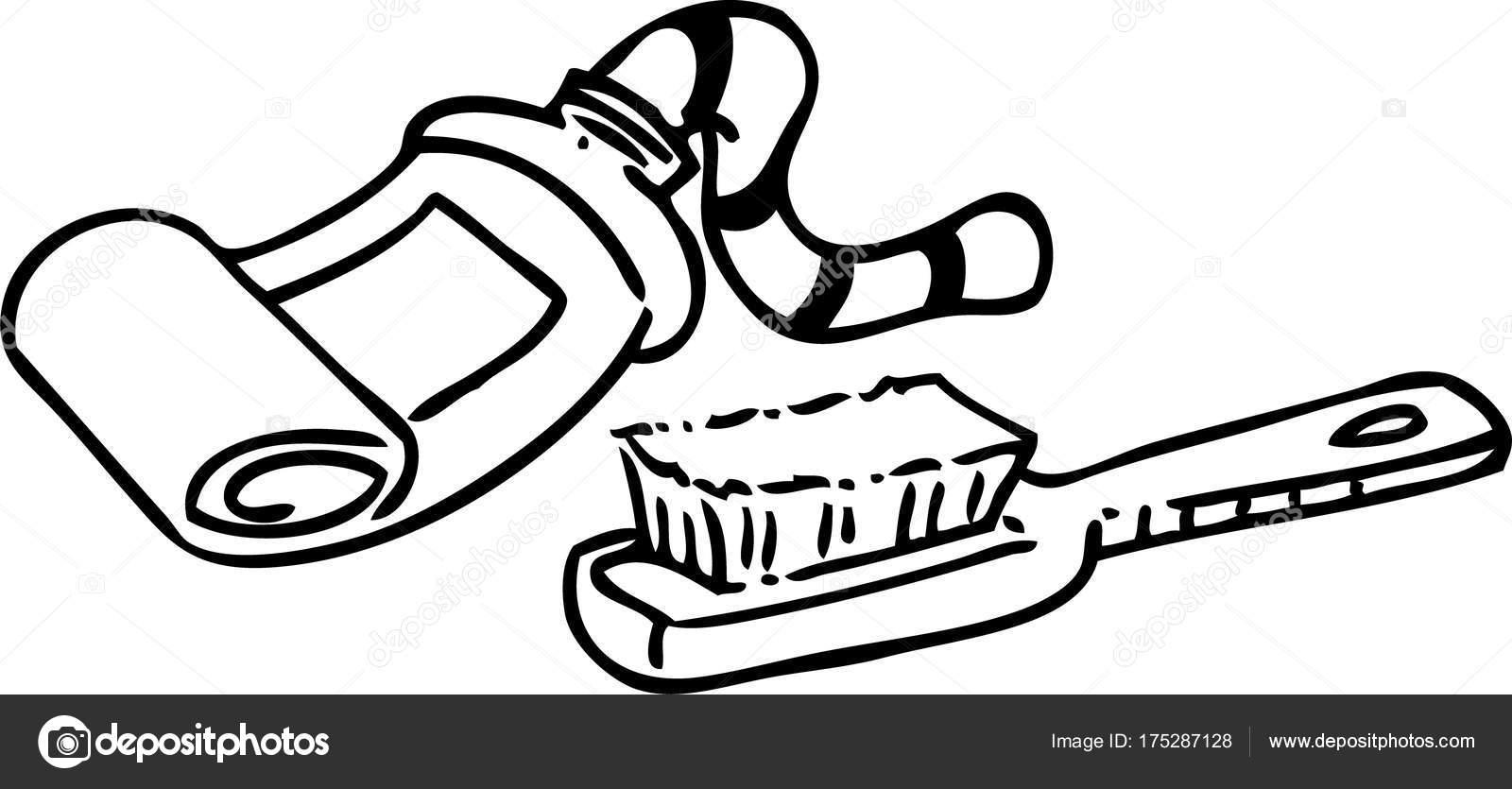 歯ブラシ 歯磨き粉のチューブの黒と白のイラスト ストックベクター