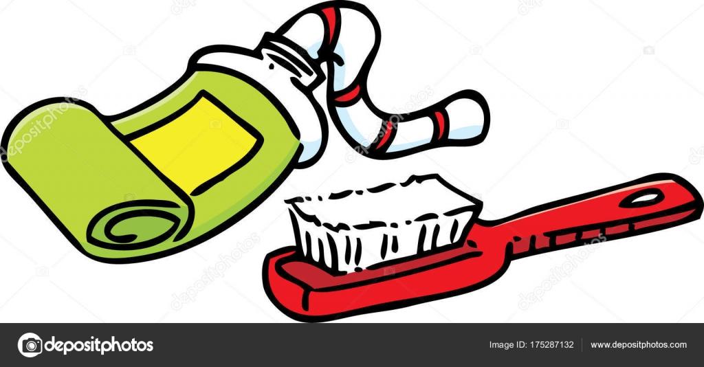 歯ブラシ 歯磨き粉のチューブの漫画イラスト ストックベクター