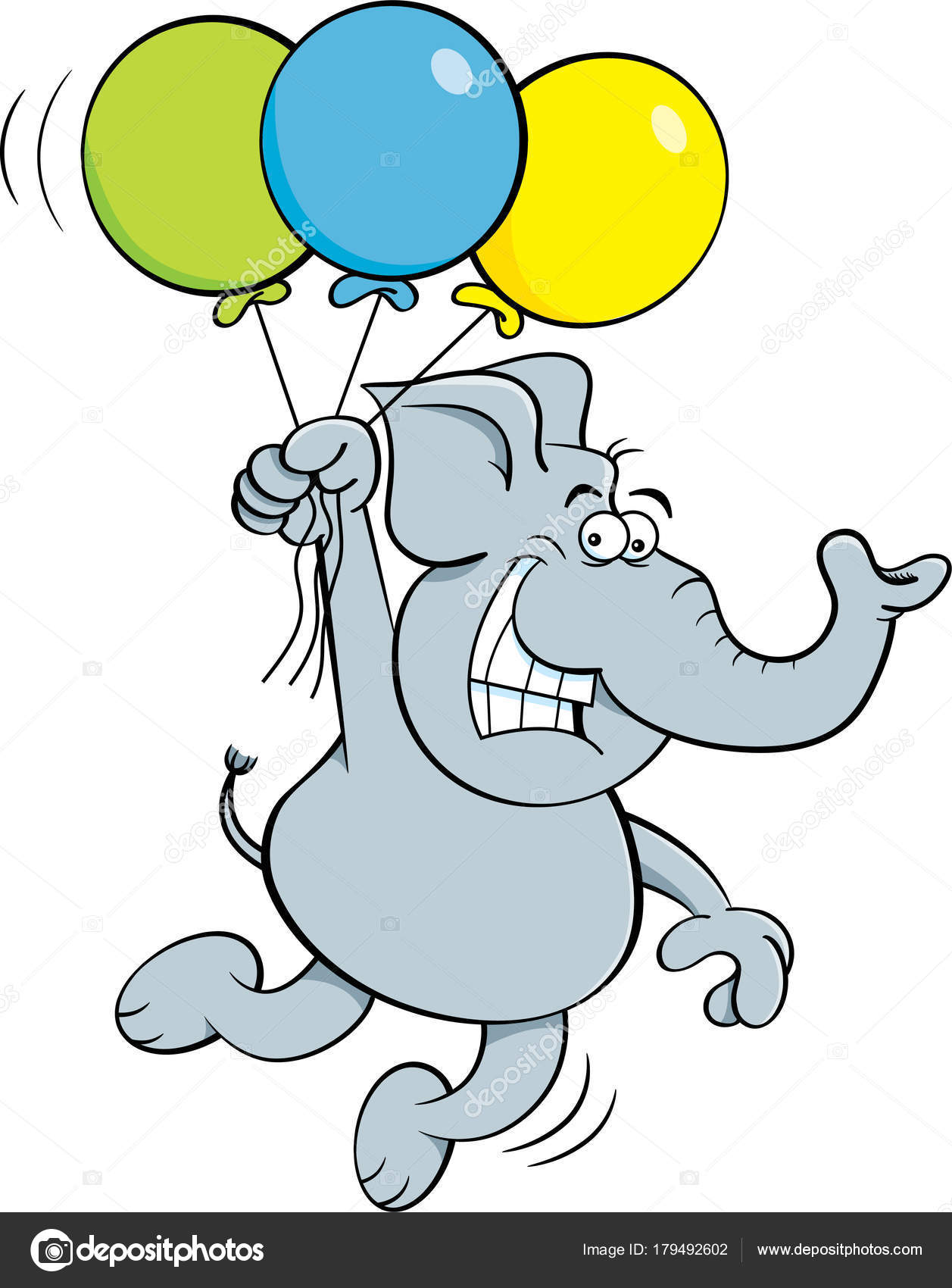 Ilustración Dibujos Animados Elefante Con Globos — Vector de stock ...