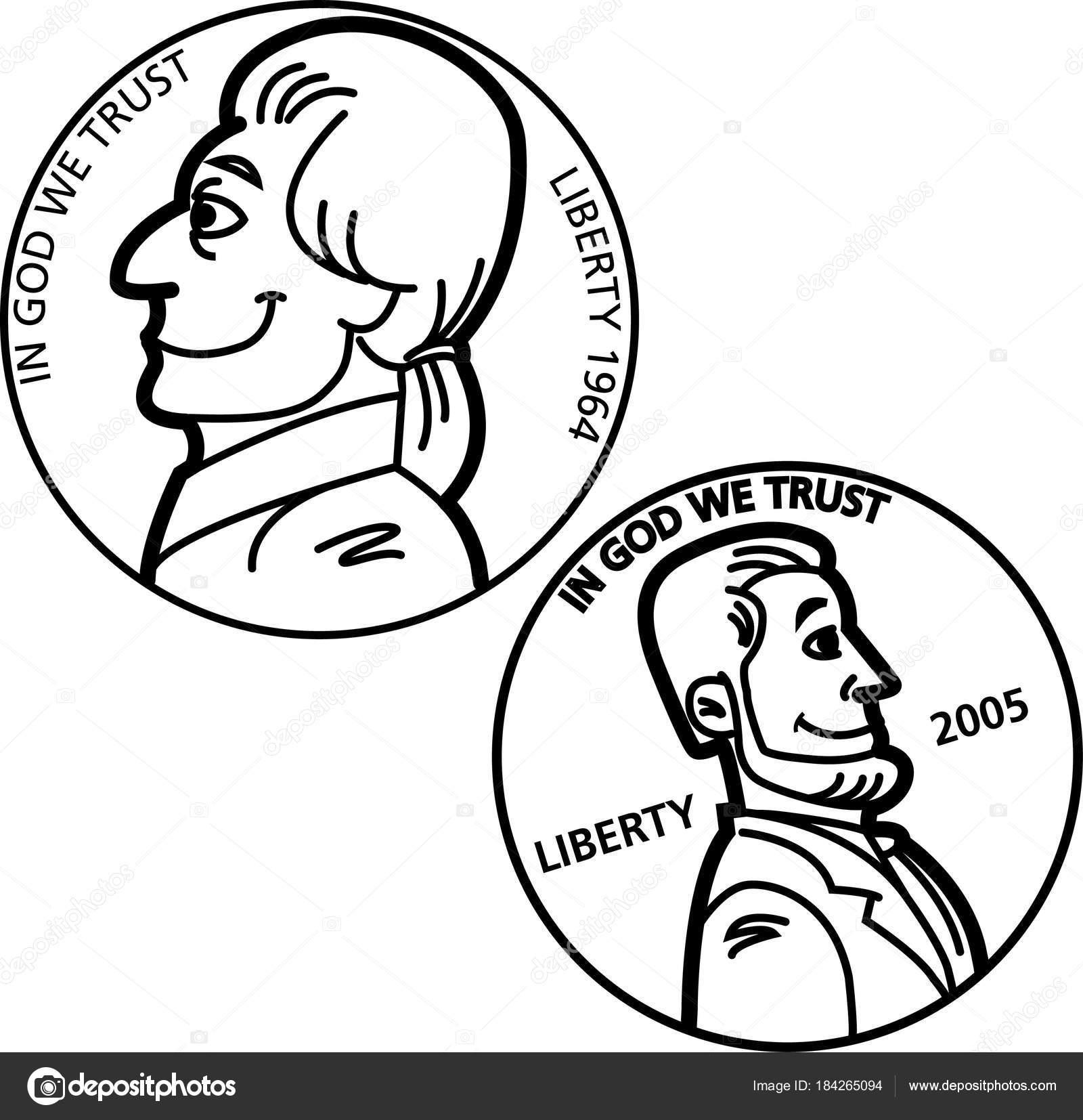 Blanco Negro Ilustración Una Monedas Níquel Penny — Archivo Imágenes ...