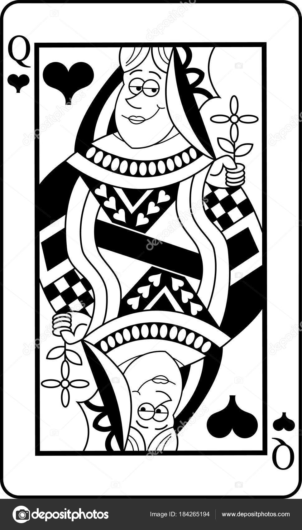 Black White Illustration Queen Hearts Playing Card — Stock Vector ...