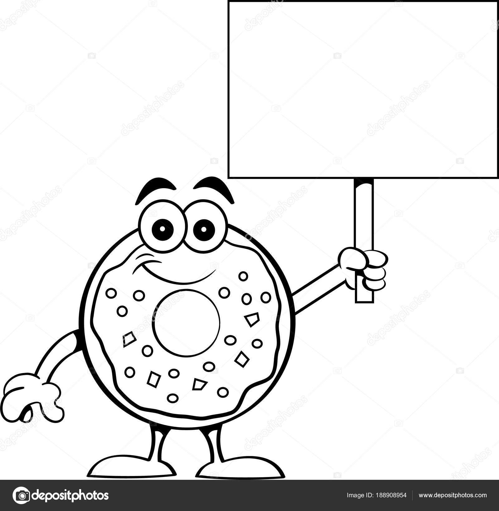 Schwarz Weiß Darstellung Ein Glücklich Donut Mit Einem Schild