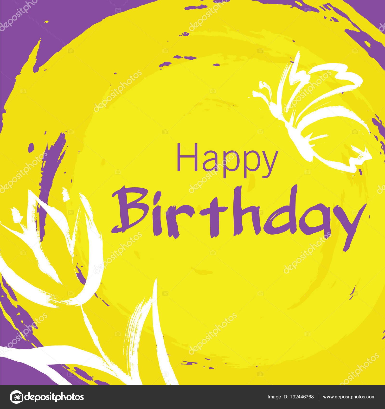 Happy Birthday Card With Hand Draw Elements As Flower And Butter Stock Vector