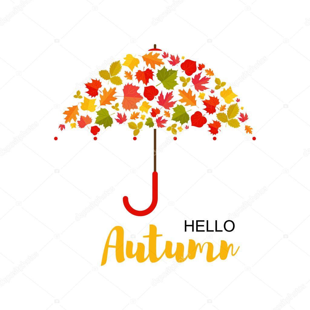 Vector Illustration. Autumn background.Umbrella of leafs. Hello