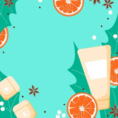 Template background with skin cream with cute orange and green plant. Skincare poster for cosmetics shop, social media in cartoon style. Vector Illustration icon