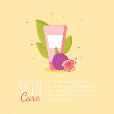 Template background with skin cream with fig plant on yellow background. Skincare poster for cosmetics shop, social media in cartoon style. Vector Illustration icon