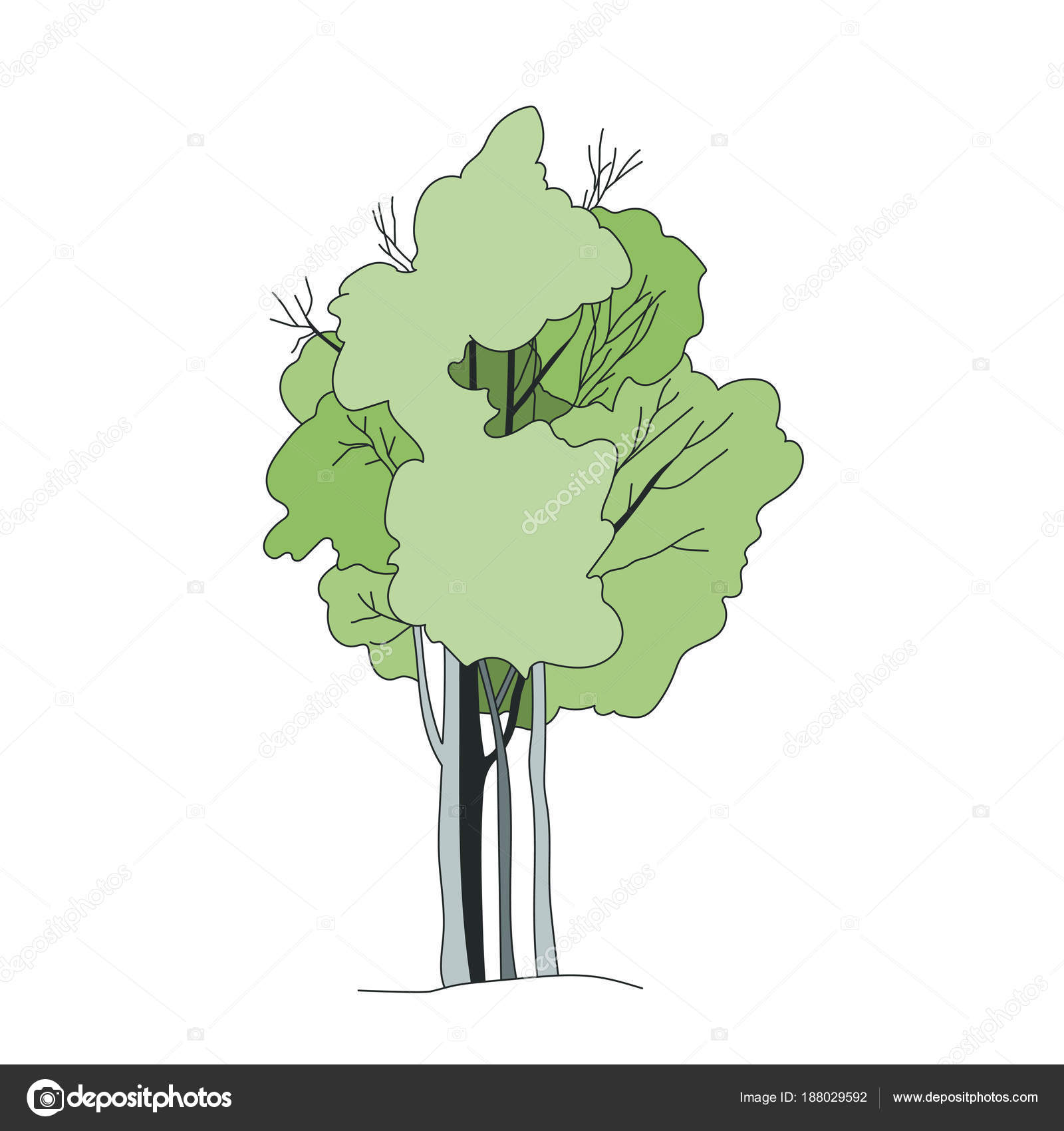 Baum Skizze Architekt Handzeichnung Landschaft Element Stockvektor