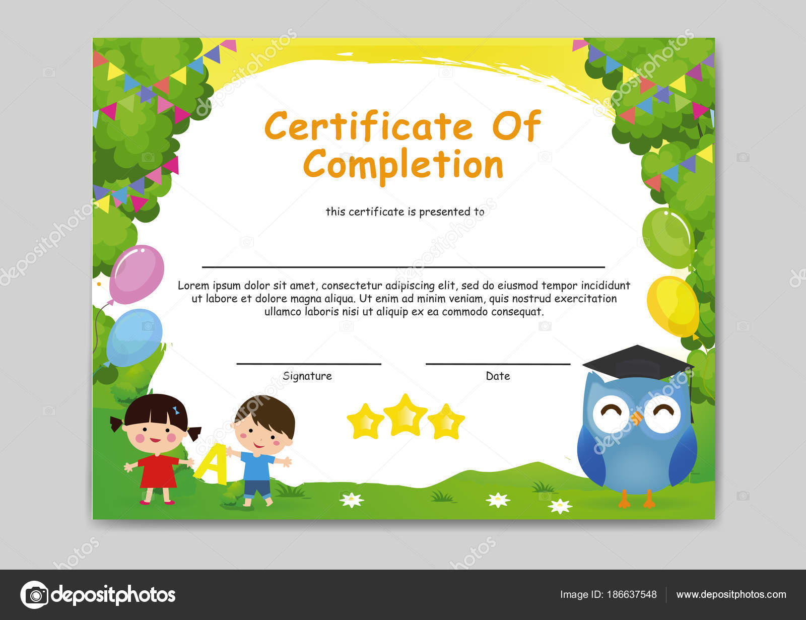 colourful cheerful kindergarten certificate completion illustartion