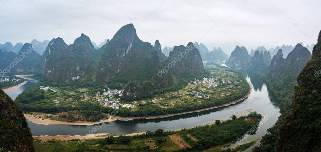 Karts hill Mountains view, on a cloudy misty morning in South China