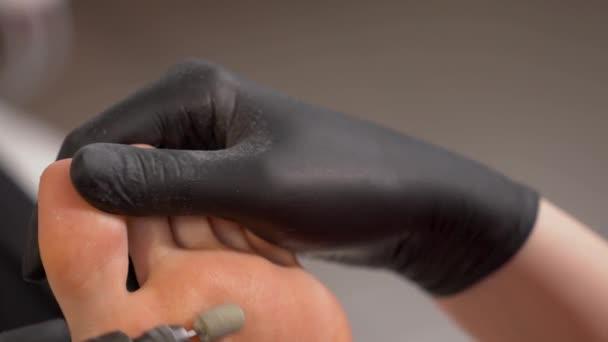 Callus peeling using professional pedicure drill machine spa foot callus peeling using professional pedicure drill machine spa foot treatment stock video publicscrutiny Choice Image