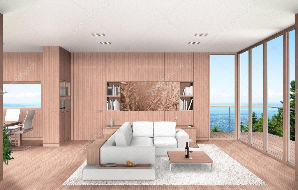 Moderne woon en eetkamer interieur met beuken houten lambrisering