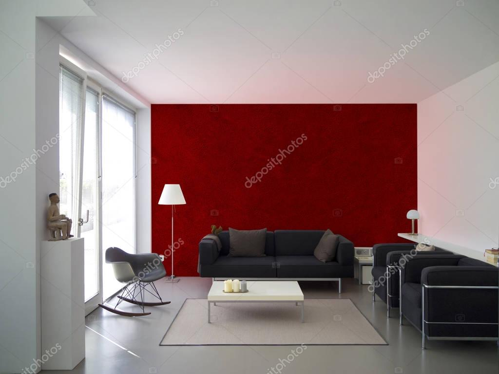 Modernen Wohnzimmer mit weinrote Wand — Stockfoto © numismarty ...