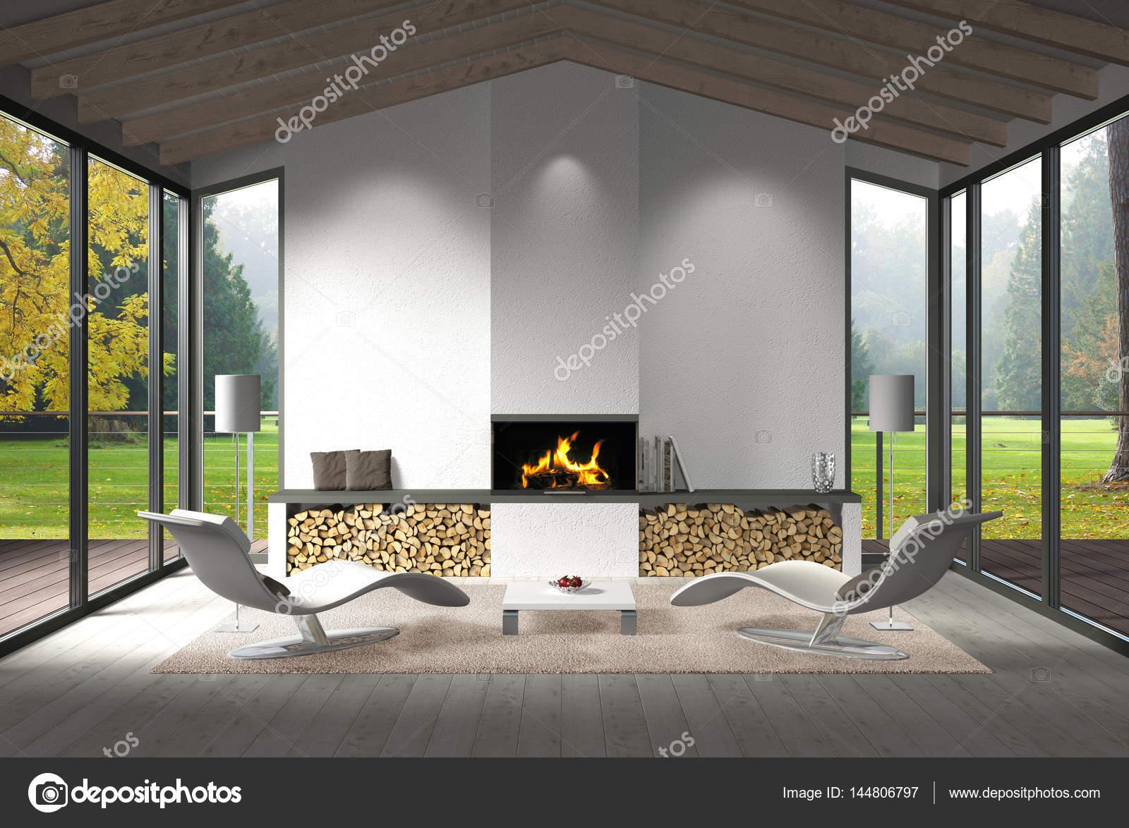 zeitgenössische Wohnzimmer Interieur mit Kamin und Blick auf den ...