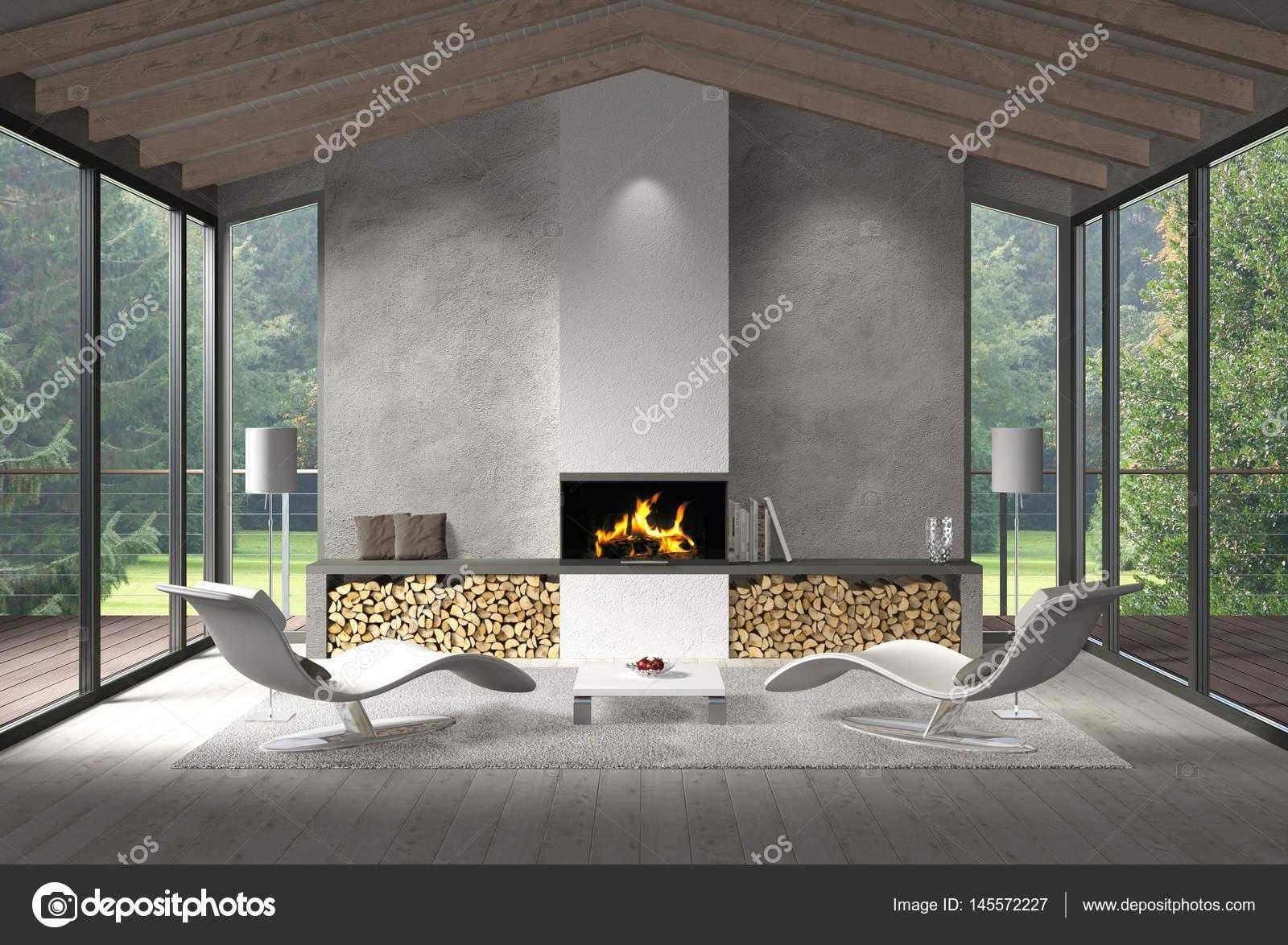 Moderne woonkamer met glazen gevel en uitzicht op de tuin