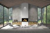 moderní obývací pokoj s proskleným čelem a výhledem do zahrady