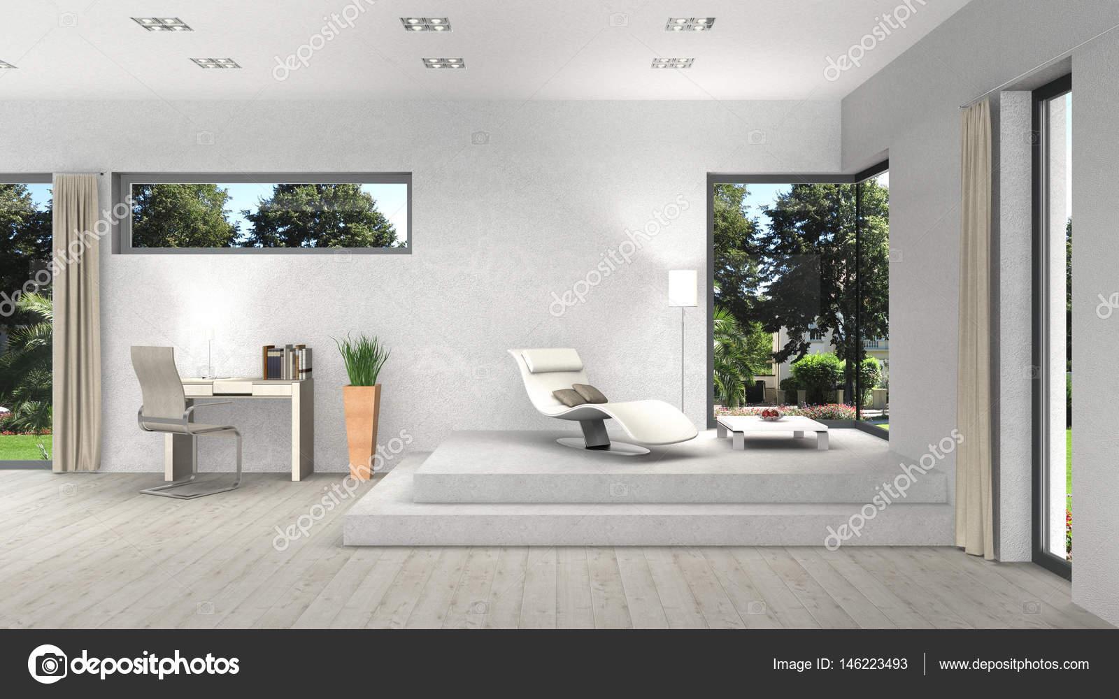 Interieur mit modernen Fenstern und Blick auf den Garten — Stockfoto ...