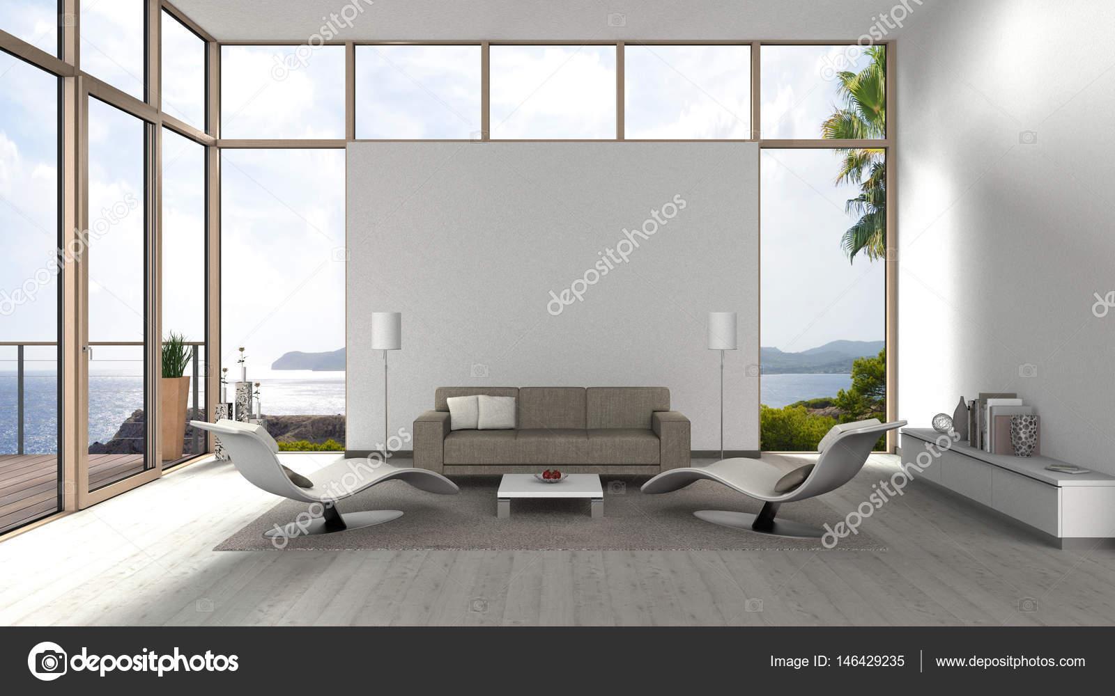 zeitgenössische Wohnzimmer mit Glas Vorderfenster — Stockfoto ...
