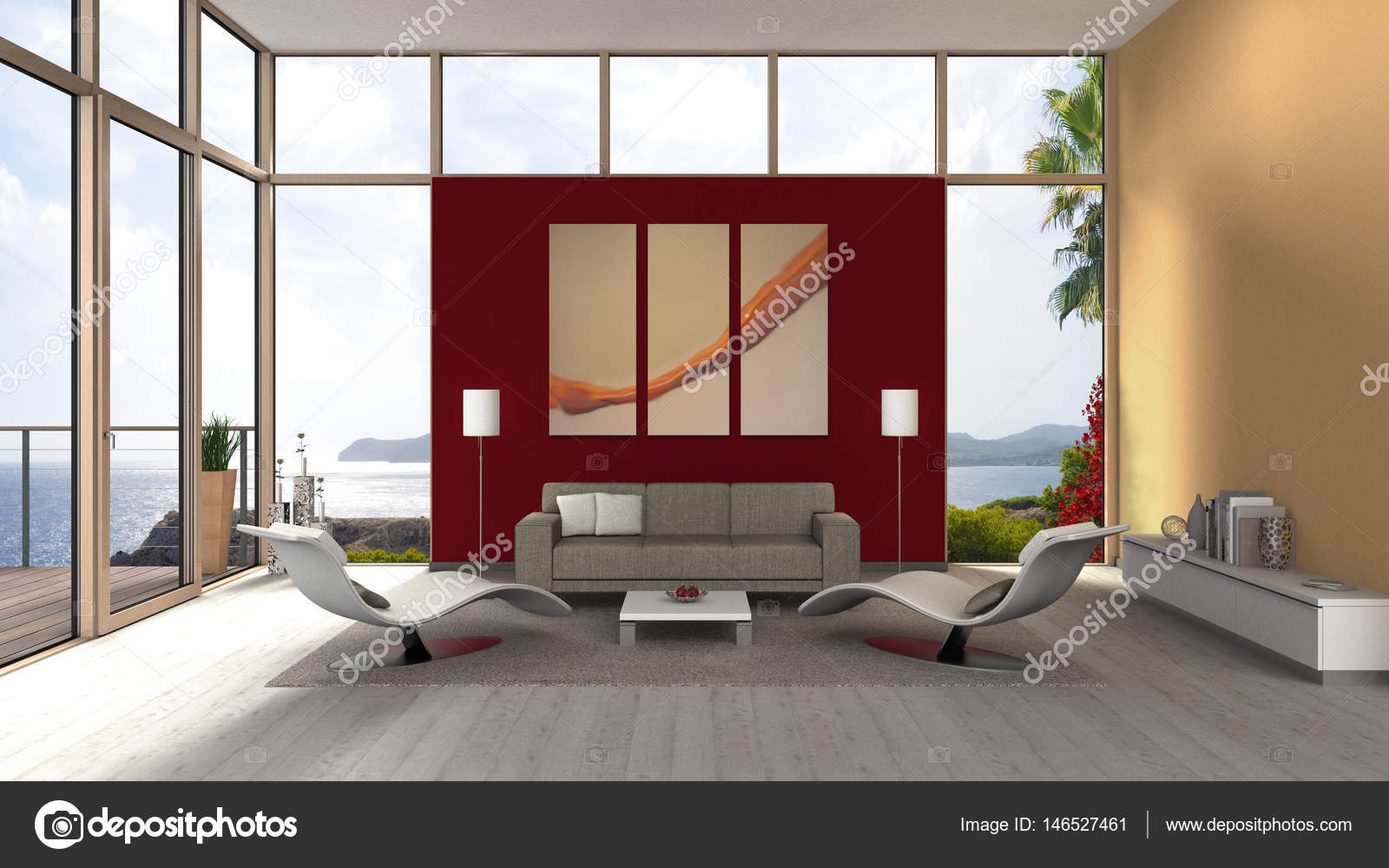 woonkamer interieur met glazen gevel en prachtig uitzicht over de ...
