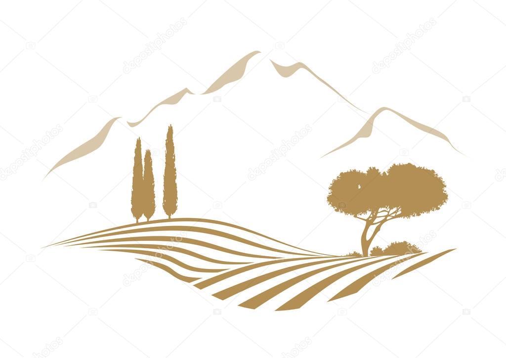 rural mediterranean landscape with mountains