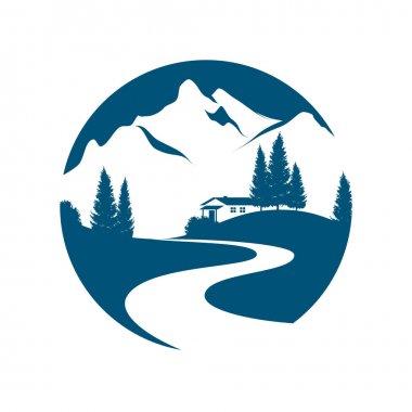 mountain landscape vector emblem