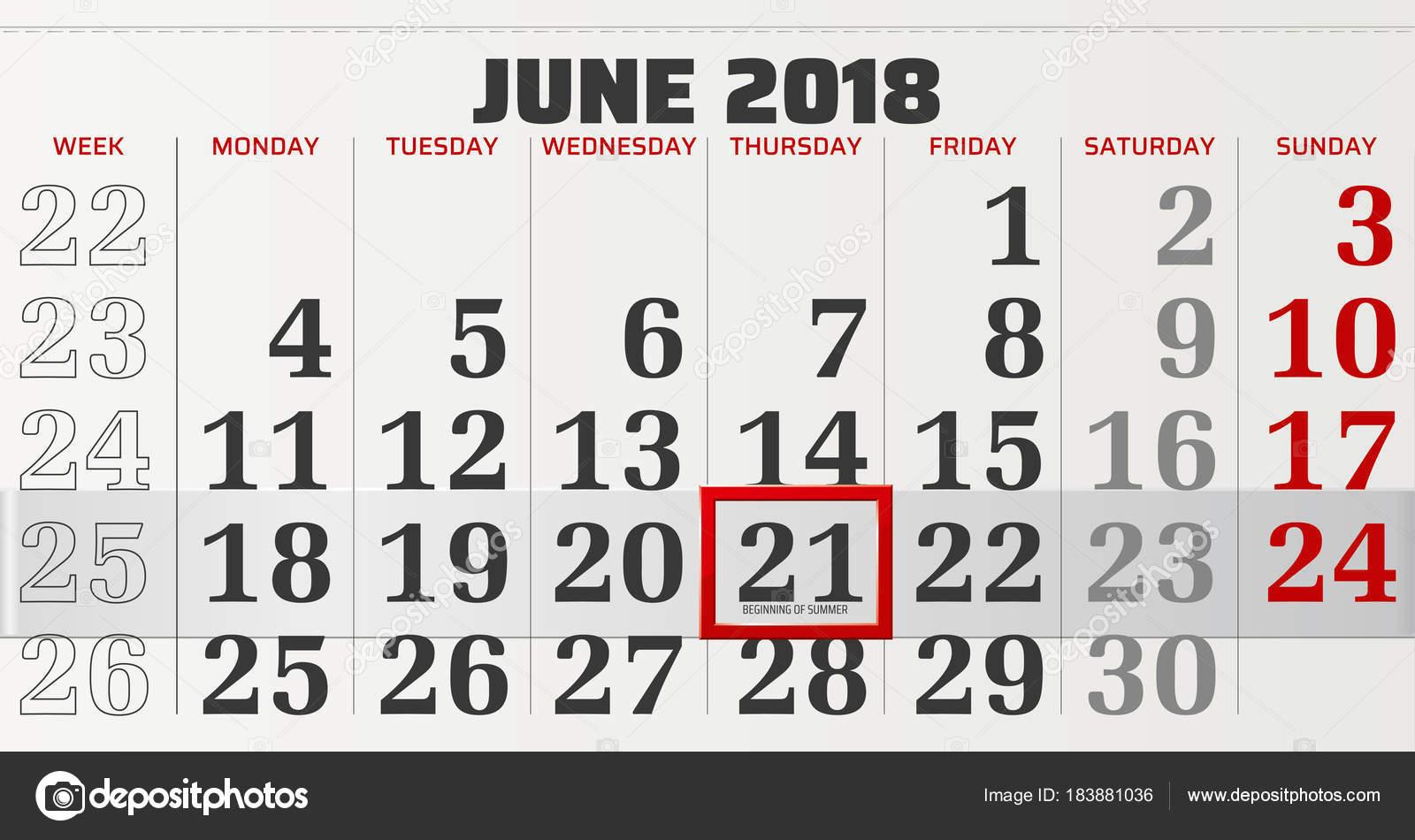 Vektor Kalender Juni 2018 Mit Verschieblich Roten Rahmen Und Anfang ...