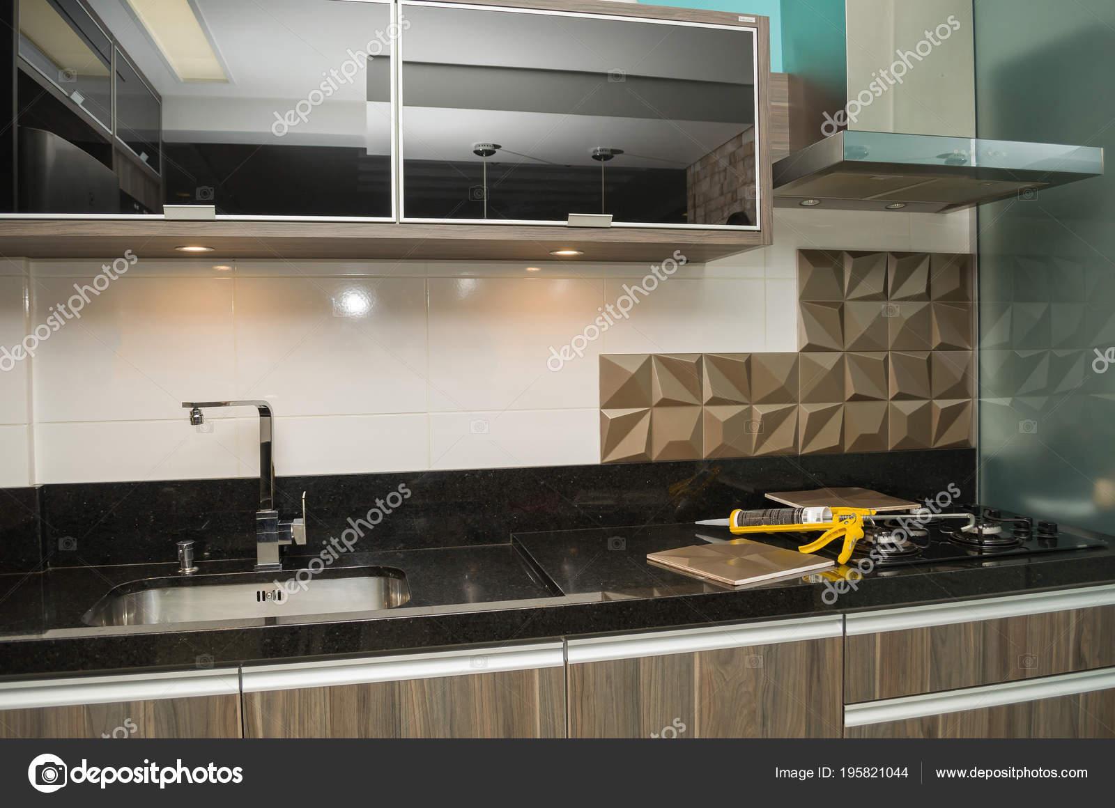 Renovating Kitchen Installing Tile Wall — Stock Photo ...