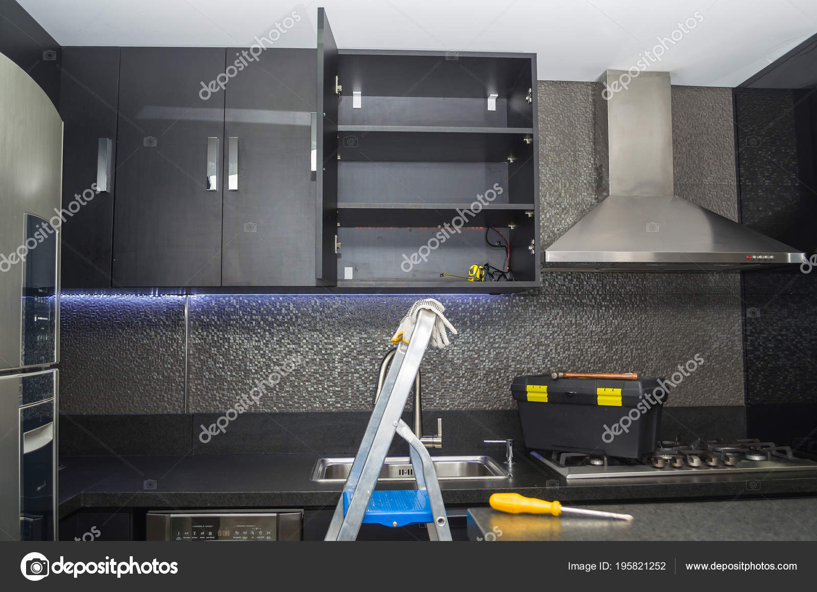 Renovación Reparación Muebles Cocina Encimera Cocina — Foto ...
