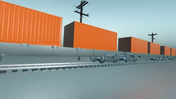 Seamless loop of Freight Train With Cargo Containers Passing By