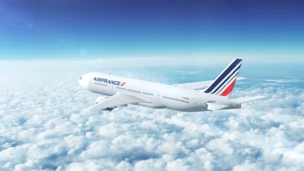 Boing 777 kommerzielle Passagierflugzeuge fliegen hoch über den Wolken in den Himmel. airfrance (Frankreich)