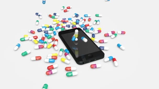 Pills with icons of most popular social media apps fall down onto a smartphone. Mobile Social media addiction concept.
