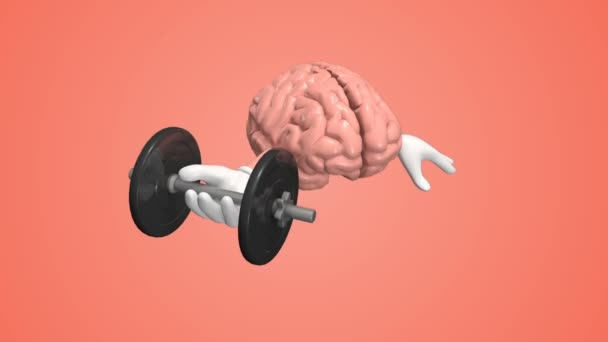 Human brain exercising with dumbbell. Brain training memory concept.