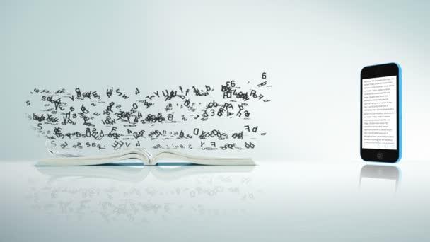 Text natéká do telefonu ze stránky knihy. Digitální koncepce Smartphone E-knihy.