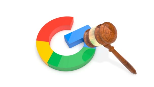 Colorful G letter being crashed by Gavel (Judges Hammer)