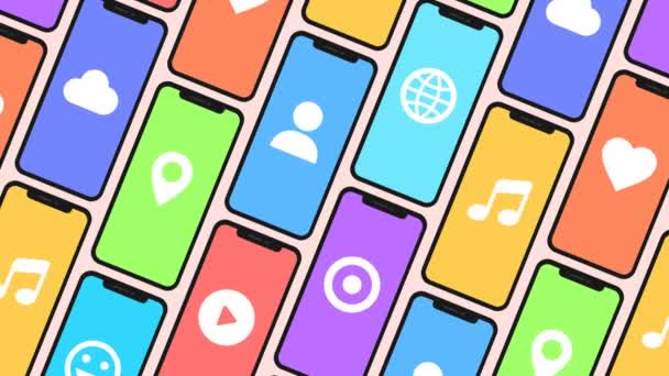 Seamless animation of a Pattern made of smartphones and generic social media icons.