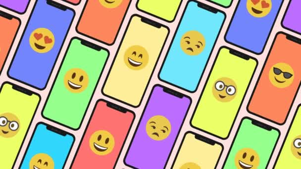 Seamless Animation of a Pattern made of smartphones and emoji emoticons.