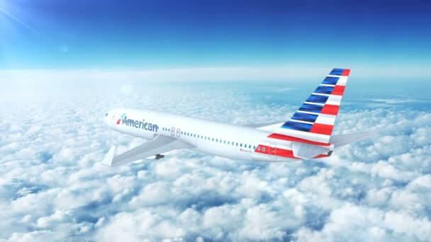Letecký pohled na American Airlines Boeing 737 Komerční osobní letadla Flying vysoké až v nebi nad mraky